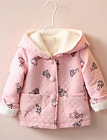 cheap -Girls' Print Down & Cotton Padded,Cotton Long Sleeves Cute Blushing Pink