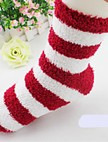 Women's Hosiery Medium Socks,Others Striped 2pcs Red