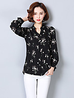 cheap -Women's Daily Street chic Blouse,Floral V Neck Long Sleeves Polyester