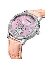 abordables -MEGIR Mujer Reloj Casual Reloj de Moda Reloj de Vestir Reloj de Pulsera Cuarzo Cuero Auténtico Banda Casual Cool