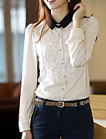 cheap -Women's Daily Cute Shirt,Solid Shirt Collar Long Sleeves Polyester
