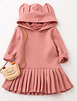 Girl's Daily Going out Solid Dress,Cotton Fall Long Sleeves Casual Blushing Pink