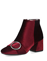 Women's Shoes Velvet Spring Fall Comfort Fashion Boots Boots Chunky Heel Square Toe Booties/Ankle Boots Zipper For Wedding Party & Evening