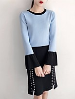 Women's Daily Casual Winter Fall Sweater Skirt Suits,Color Block Round Neck Long Sleeves Spandex
