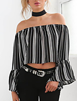 cheap -Women's Daily Going out Cute Active Sexy Autumn Summer Blouse,Striped Color Block Boat Neck Long Sleeves Polyester Medium
