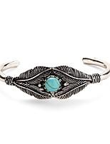 Femme Manchettes Bracelets Turquoise Classique Rétro Turquoise Alliage Forme de Feuille Bijoux Pour Quotidien