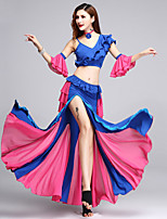 cheap -Shall We Belly Dance Outfits Women's Performance Polyester Pleats Split Joint Split Sleeveless Dropped Skirts Tops