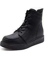 cheap -Women's Shoes PU Winter Comfort Boots Flat Heel Round Toe For Casual Black