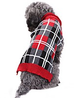 cheap -Cat Dog Costume Coat Sweater Dog Clothes Casual/Daily Keep Warm Wedding Halloween Christmas New Year's Plaid/Check British Geometic Gray