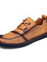 Для мужчин обувь Искусственное волокно Весна Осень Удобная обувь Туфли на шнуровке Назначение Повседневные Черный Желтый Хаки