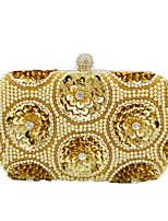 Women Bags Polyester Evening Bag Crystal Detailing Sequins for Wedding Event/Party All Season Gold White