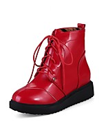 cheap -Women's Shoes PU Fall Winter Comfort Boots Flat Heel Round Toe For Outdoor Office & Career Red Black White