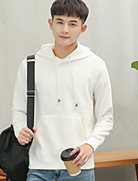 cheap -Men's Going out Hoodie Print Cotton Long Sleeves