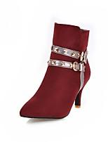 preiswerte -Damen Schuhe Nubukleder Frühling Herbst Modische Stiefel Stiefel Spitze Zehe Booties / Stiefeletten Niete Schnalle Für Hochzeit Party &