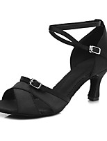 Women's Latin Satin Sandal Heel Indoor Cuban Heel Black 2