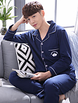 Costumes Pyjamas Homme,Imprimé Imprimé Coton Bleu