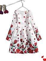 Girl's Dailywear Solid Floral Jacquard Dress,Cotton Polyester Long Sleeves