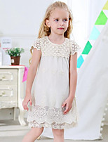 Girl's Holiday Going out Patchwork Dress,Rayon Polyester Short Sleeves