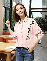 cheap -Women's Daily Active Shirt,Striped Embroidery Shirt Collar Long Sleeves Cotton