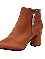 abordables -Mujer Zapatos Cachemira Invierno Botas de Moda Botas Dedo Puntiagudo Mitad de Gemelo Pedrería Para Casual Negro Marrón Rojo