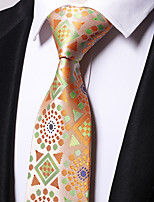 cheap -Men's Polyester Necktie,Work Casual Floral All Seasons Yellow