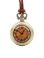 cheap -Men's Pocket Watch Chinese Quartz Large Dial Leather Band Casual Elegant Brown