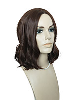 Women Synthetic Wig Capless Short Body Wave Dark Brown Natural Hairline Layered Haircut Asymmetrical Haircut Celebrity Wig Natural Wigs