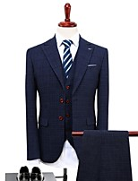 Gray Plaid/Checkered Standard Fit Polyester Suit - Peak Single Breasted Two-buttons