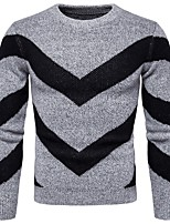 cheap -Men's Casual/Daily Work Regular Pullover,Striped Round Neck Long Sleeves Polyester Winter Thick Micro-elastic