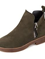abordables -Mujer Zapatos PU Invierno Botas de Moda Botas Dedo redondo Mitad de Gemelo Para Casual Negro Verde Ejército Color Camello