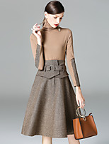 Women's Daily Going out Casual Street chic Sophisticated Winter Fall T-shirt Skirt Suits,Color Block High Neck Long Sleeves Polyester