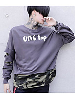 cheap -Men's Daily Going out Sweatshirt Solid Letter Round Neck Micro-elastic Polyester Long Sleeves Winter Fall/Autumn