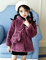 cheap -Girls' Solid Pattern Jacket & Coat,PU Cotton Rayon Polyester Long Sleeves Cute Casual Cartoon Blushing Pink Beige Purple