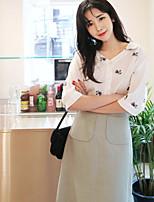 cheap -Women's Daily Wear Cute Shirt,Floral Shirt Collar Half Sleeves Cotton