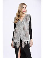 BF-Fur Style Women's Casual/Daily Sophisticated Fall Winter Vest,Solid V Neck Sleeveless Regular Rabbit Fur