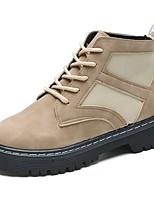 abordables -Mujer Zapatos PU Otoño Botas de Combate Botas Dedo redondo Mitad de Gemelo Para Casual Negro Caqui