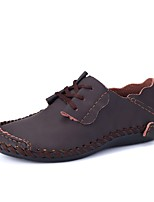 Men's Shoes Real Leather Spring Fall Moccasin Loafers & Slip-Ons For Casual Dark Brown Light Brown Gray Black