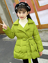 cheap -Girls' Solid Down & Cotton Padded,Silk Long Sleeves Casual Orange Light Green