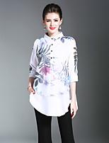 cheap -Maxlindy Women's Daily Going out Vintage Winter Autumn/Fall Shirt,Floral Shirt Collar 3/4 Length Sleeve 100% Polyester Medium