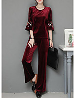 Women's Daily Casual Winter Set Pant Suits,Solid Round Neck Long Sleeves Cotton