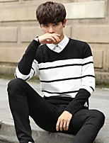 Men's Casual/Daily Short Pullover,Striped Round Neck Long Sleeves Cotton Fall Winter Medium Micro-elastic