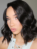 Women Human Hair Lace Wig Brazilian Human Hair 360 Frontal 180% Density Bob Haircut With Baby Hair Body Wave Wig Black Long Natural