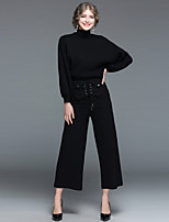 EWUS Women's Daily Going out Street chic Winter Fall Sweater Pant Suits,Solid High Neck Long Sleeves Knitting 100% Polyester >75%