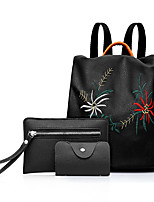 cheap -Women Bags PU Bag Set 3 Pcs Purse Set Embroidery Zipper for Shopping Casual All Season Black
