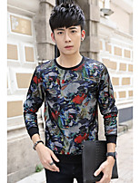 cheap -Men's Going out Street chic Sweatshirt Lolita Round Neck Micro-elastic Spandex Eco-friendly Polyester Long Sleeves Fall