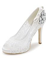 Femme Chaussures Dentelle Printemps Eté Escarpin Basique Chaussures de mariage Talon Aiguille Bout ouvert Strass pour Mariage Soirée &