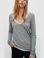 cheap -Women's Daily Holiday Casual Street chic Winter Fall T-shirt,Solid V Neck Long Sleeve Polyester