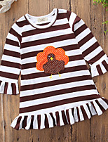Girl's Christmas Holiday Striped Print Dress,Cotton Polyester Long Sleeves Casual Active Cartoon Punk & Gothic Princess Brown