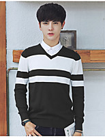 Men's Casual/Daily Short Pullover,Solid Striped Round Neck Long Sleeves Cotton Autumn Medium strenchy