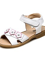 cheap -Girls' Shoes Leather Summer Comfort Sandals Flower Magic Tape for Casual Dress White